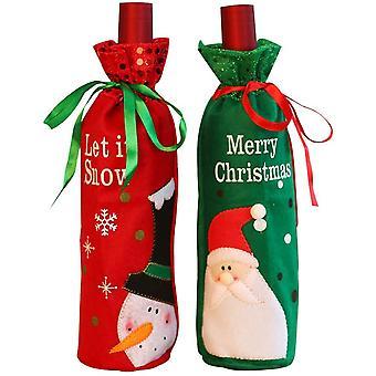 2 Christmas wine bottle decoration bags