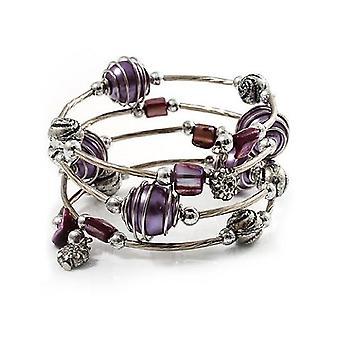 Silver Tone Beaded Multistrand Flex Bracelet - Purple
