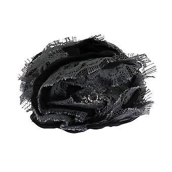Dolce & Gabbana Black Gray Floral Lace Crystal Hair Claw