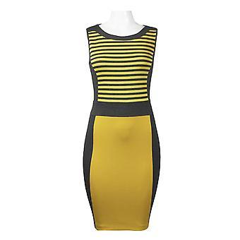 Sleeveless Stripe And Block Print Ponte Sheath Dress