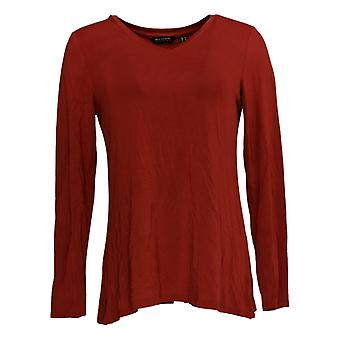 H Par Halston Women's Top Long-Sleeve V-Neck W/ Side Slits Red A367973