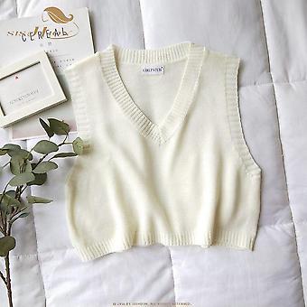 Wiosna, Jesień Vintage Vintage bez rękawów v-neck dzianinowy sweter kamizelka, kobiety stałe