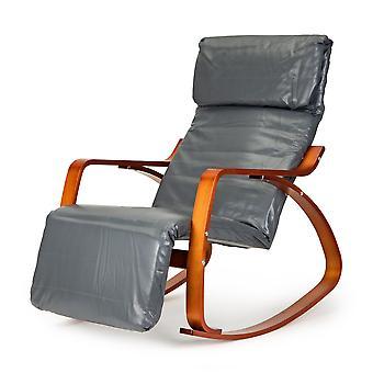 Poltrona reclinabile a dondolo con poggiaesta - grigio ecopelle con marrone