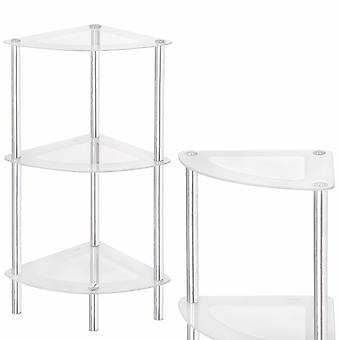 Mobilier de baie colț - rafturi de sticlă cabinet - alb - 39x73x28 cm