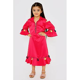 Djellaba acheqa girl's hooded tassel maxi kaftan dress in raspberry