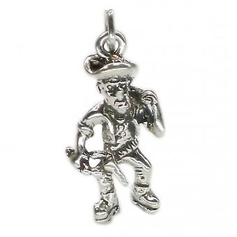 Old Prospector Sterling Silver Charm .925 X 1 Gold Digger Charms - 2705