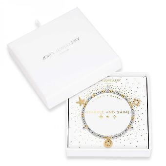 Joma Jewellery Life's A Charm Sparkle And Shine Silver Gold Charm 17.5cm Stretch Bracelet 3896