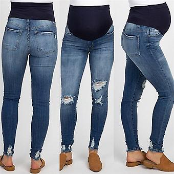Frau Schwangere ripped Jeans, Mutterschaft Hose/Hose Pflege Prop, hohe Taille