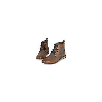 Cavani  Cavani Sherlock Tan Tweed Fabric Leather Boot