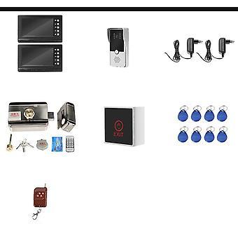 Intercom 2 monitorit Video-ovi puhelimen tuki 2 sähkölukot huoneistoon