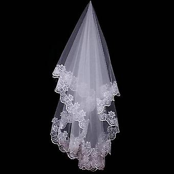 Short Bridal Veils With Lace Edge Wedding