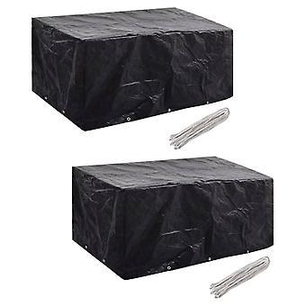 vidaXL Garden Furniture Covers 2 pcs. 6 people Poly Rattan 10 eyelets