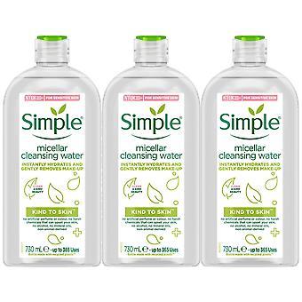 3x de 730ml de agua hidratante micelar hidratante de piel para piel sensible