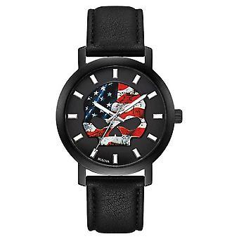 Harley Davidson Men's American Flag Willie G | Black Leather Strap 78A122 Watch