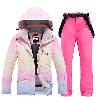 2020 Nová módní barva odpovídající lyžařské oblek ženy větruodolné vodotěsné snowboard
