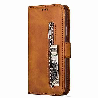 Wielofunkcyjny etui zabezpieczające portfel dla Samsung Galaxy M30 / A40S - Brown