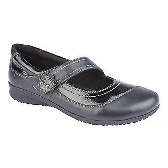 Mod Comfys Elsa Ladies Leather Mary Jane Shoes Black