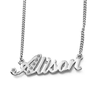 """L Alison - 18-carat white gold plated necklace, with customizable name, adjustable chain of 16""""- 19"""", in Ref packaging. 496330314229"""
