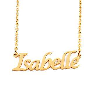 KL Isabelle - 18 karan kullattu kaulakoru, mukautettu nimi, säädettävä pituus 16 - 19 cm