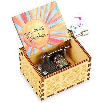 FengChun klassische Hand Kurbel Musik Box Vintage Holz geschnitzt Musik Fall Kinder Spielzeug Weihnachten