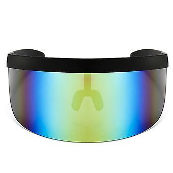 Oversize sunglasses retro futuristic shield visor face mask colorful sun-proof dust-proof anti-spray goggles side