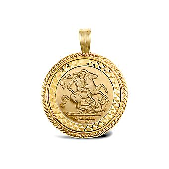 Jewelco London Solid 9ct Gold Rope Edge Frame St George & Dragon Medallion Pendant (Full Sov Size)