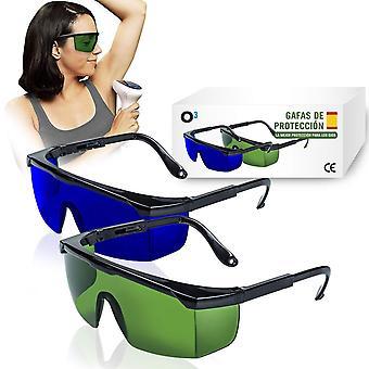 Schutzbrille zur Laser-Haarentfernung Inhalt: 2 Stück Grün blau