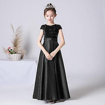 Satin Sequin Formal Princess Gown