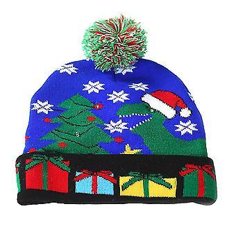 M blau Weihnachten schöne gestrickte Hut kreative led Licht Hut Cosplay Hut für Winter Performance Party Dekor (Dinosaurier) dt2935