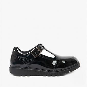 Hush Puppies Kerry Snr Girls Leather Buckle Shoes Patent Black