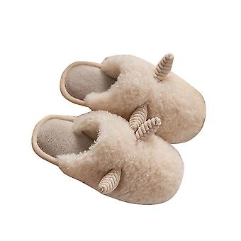 Beige 36-37 horn-shaped cute home warm plush couple slippers-female homi3961