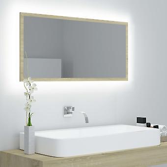 vidaXL LED badkamerspiegel Sonoma eiken 90x8,5x37 cm spaanplaat