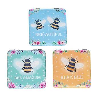 Bee Happy Square Compact Handbag Mirror - Cracker Filler Gift