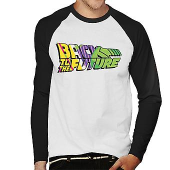 Back To The Future Striped Colourful Logo Men's Baseball Long Sleeved T-Shirt