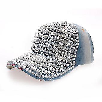 Pearl full brim denim baseball cap strass hip hop verstelbare snapback hoed gorra voor dames