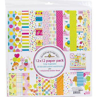 """Doodlebug Double-Face Paper Pack 12""""X12» 12/Pkg - Hey Cupcake"""