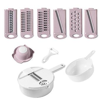 Hand Made Vegetable Salad Cutter Bowl And Multifunctional Fruit Slicer Choppers Gadgets Kichen Accessories Utensils Pink Plate