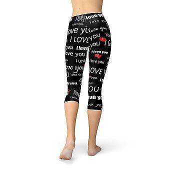 I Love You Black Capri Leggings