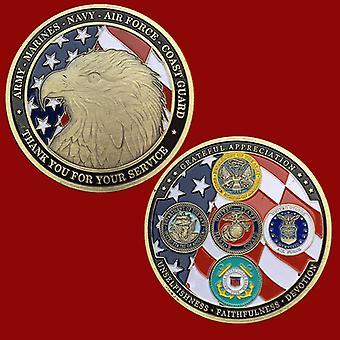Amerikaanse Flying Eagle Antieke Bronzen Herdenkingsmunt Collectie Vijf LegerMunt Badge Eagle Hoofd Medaille
