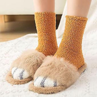 Naisten lämmin hauska pörröinen kissatassu Pehmeä sänky Tossut Sukat Nilkka sukat