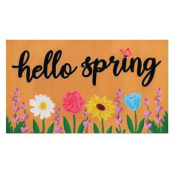 Welcoming Spring Decoration Door Mat Anti-slip Bottom Indoor Outdoor Carpet