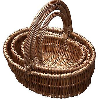 Conjunto de 3 cestas de compras de presente Oval