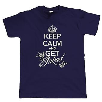 Mantenha a calma e começ coberto, camisa t da tatuagem dos homens, todos os tamanhos inc 4XL 5XL