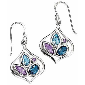 925 Silver Amethyst Blue Topaz Earring