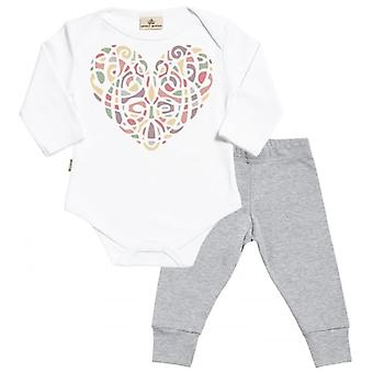 Spoilt Rotten Heart Colours Babygrow & Jersey Trousers Outfit Set
