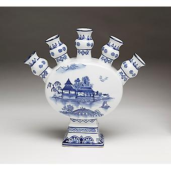 AA Importing 59877 Five Finger Blue And White Vase