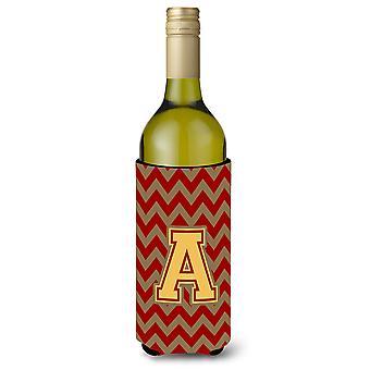 Letter A Chevron granaat en goud wijnfles drank isolator Hugger