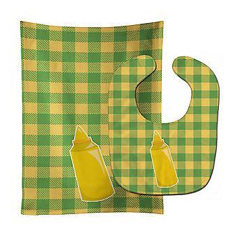 Trésors de Carolines BB8639STBU Backyard BBQ moutarde Baby Bib & tissu