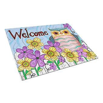 Carolines Treasures  PJC1095LCB Welcome Owl Glass Cutting Board Large