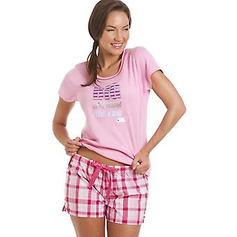 Camille Dreams Pink And White Short Pyjama Set